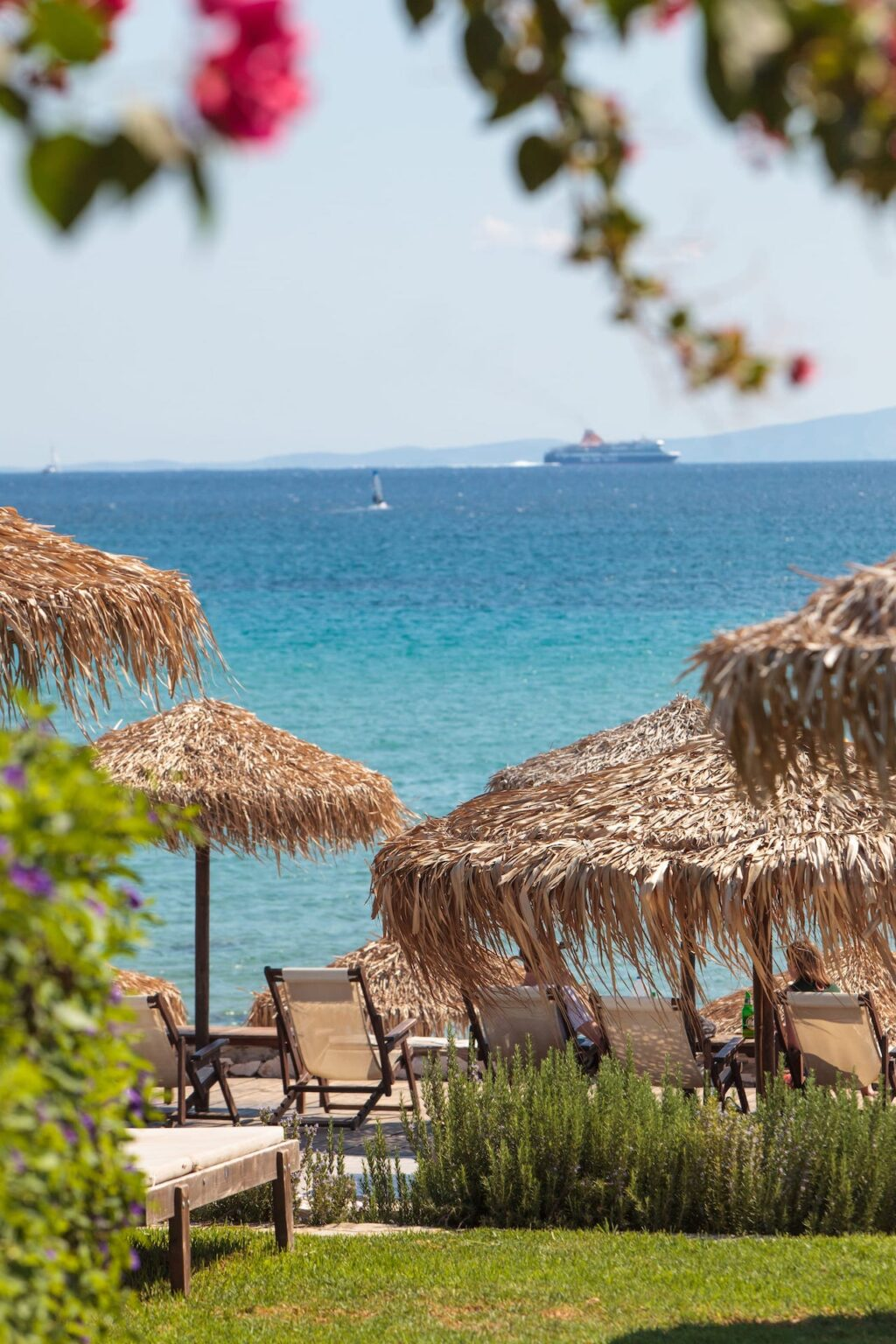 View of the blue sea as seen from the premises of the Golden Beach Hotel in Paros.