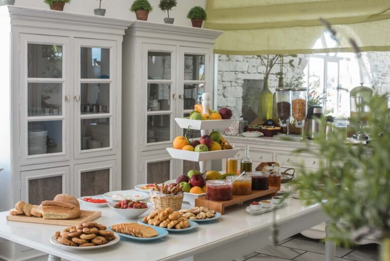 An overview of the Breakfast buffet at the Golden Beach Hotel in Paros.