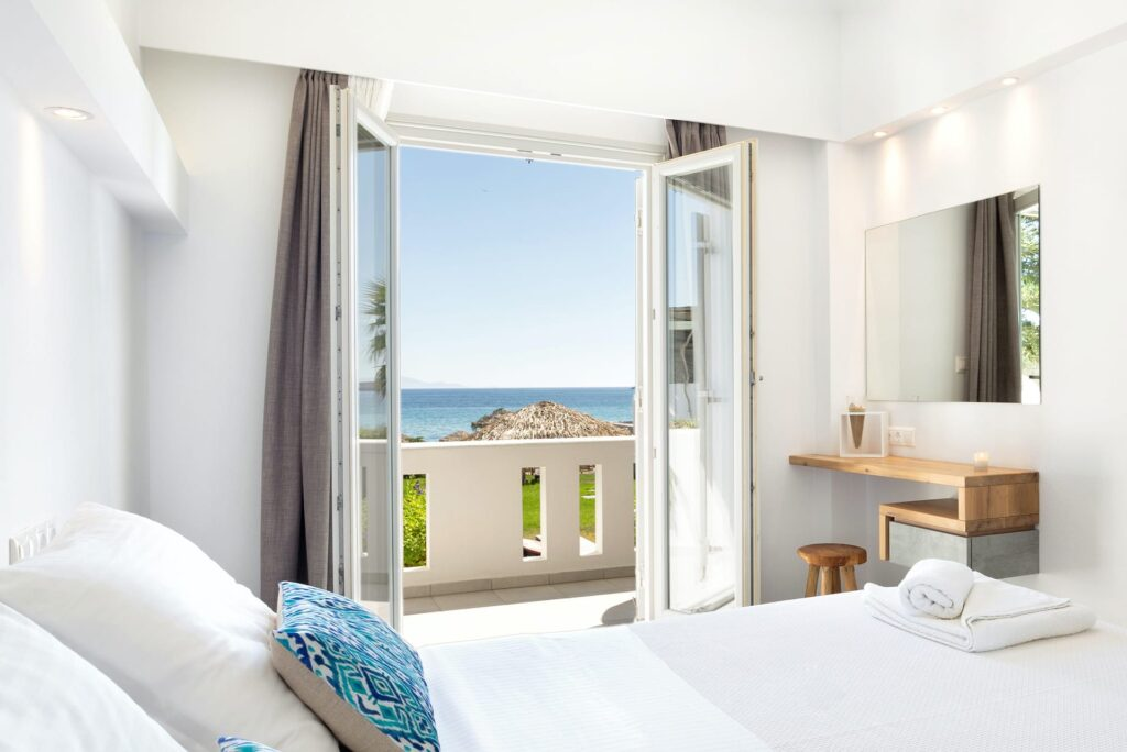 View as seen from the Superior Double Sea View at the Golden Beach Hotel in Paros.