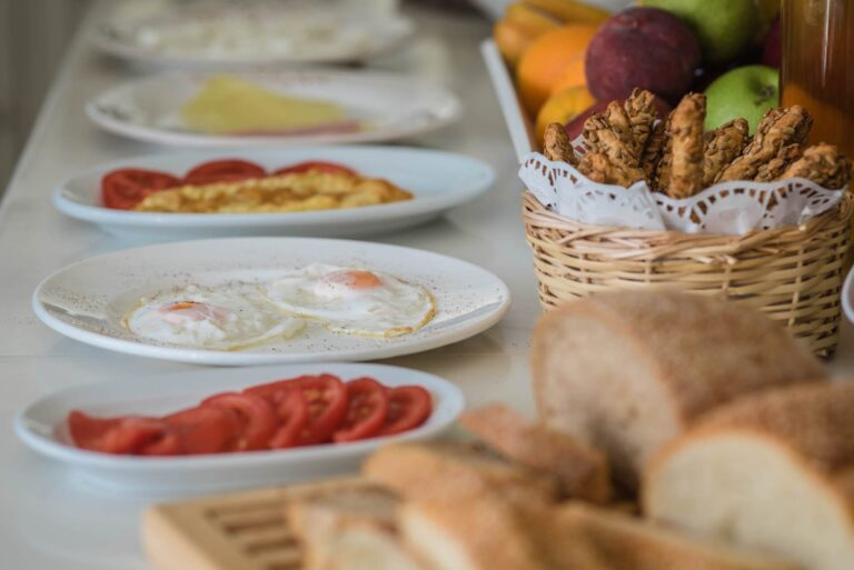 Various dishes from the Breakfast buffet at the Golden Beach Hotel in Paros. Egg, tomatoes, etc.