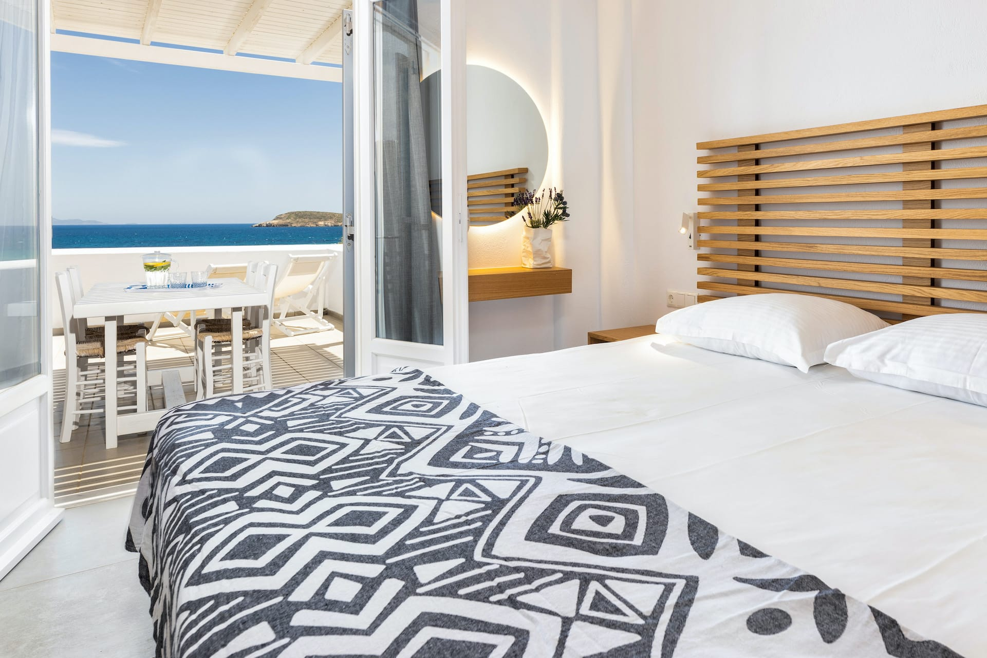 View as seen from the Triple Studio with sea view veranda at the Golden Beach Hotel in Paros